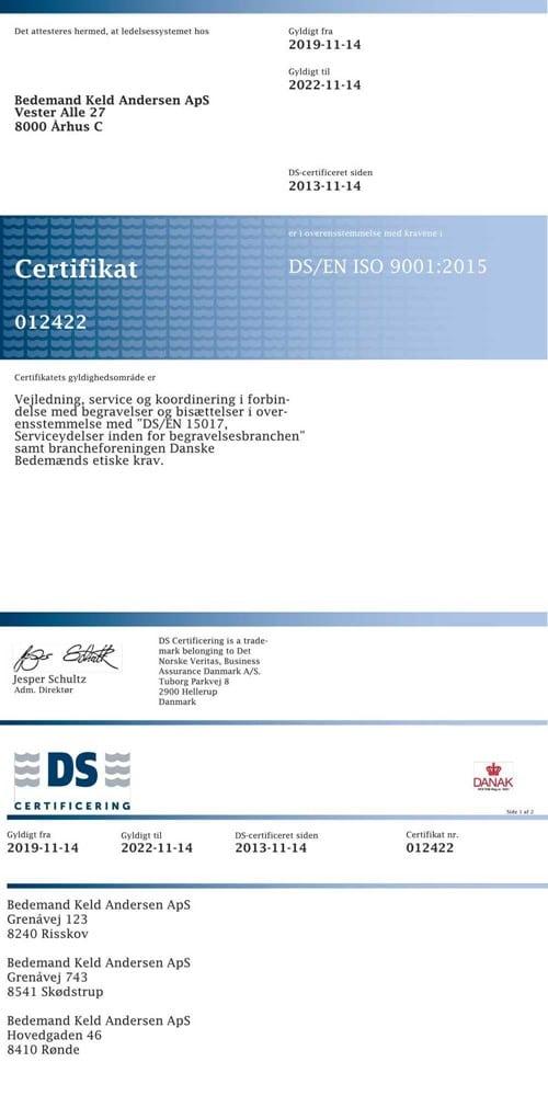 DS ISO9001 Certifikat